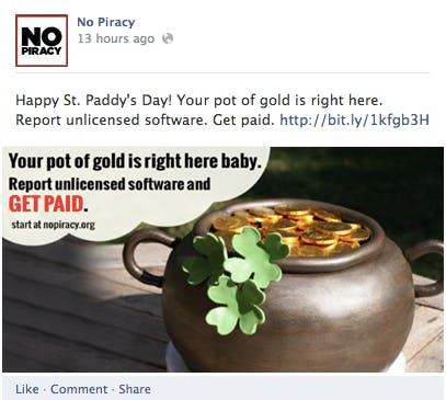 No Piracy Facebook campaign