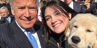 Joe Biden with dog Biden