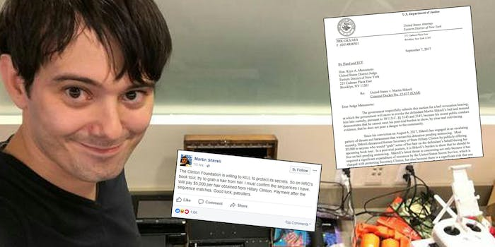 Prosecutors want to revoke Martin Shkreli's bail after his Facebook post urging people to steal Hillary Clinton's hair.