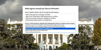 """White House survey : """"What agency would you like to eliminate?"""" dropdown options window over the White House"""