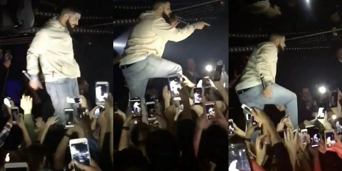 Drake threatens to beat up audience member if he doesn't stop groping girls.