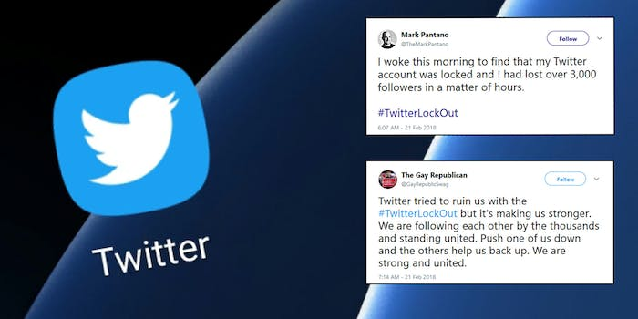 Conservative Twitter users are angry they lost thousands of followers on the social media platform, culminating in #TwitterLockout trending on Wednesday.