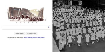A Google Doodle of NAACP's Silent Parade protest of 1917