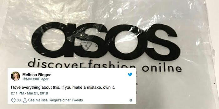 ASOS printed 17,000 bags with a typo, but the online retailer is owning the mistake.