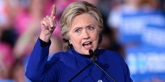 Hillary Clinton Pointing a Finger Up