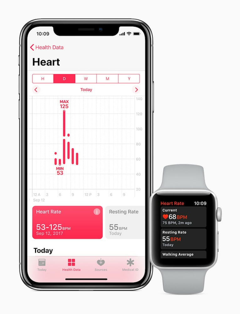Apple Watch heart rate app on iPhone X