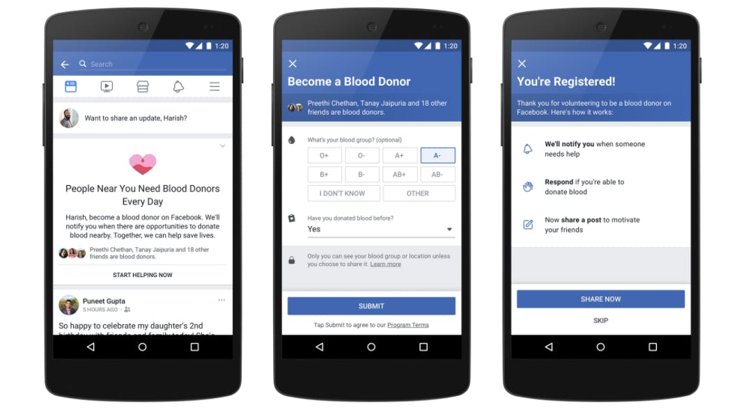 facebook blood donor registration page for india