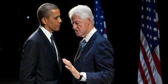 Former Presidents Barack Obama and Bill Clinton