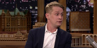macaulay culkin sits in the guest chair on the Tonight Show