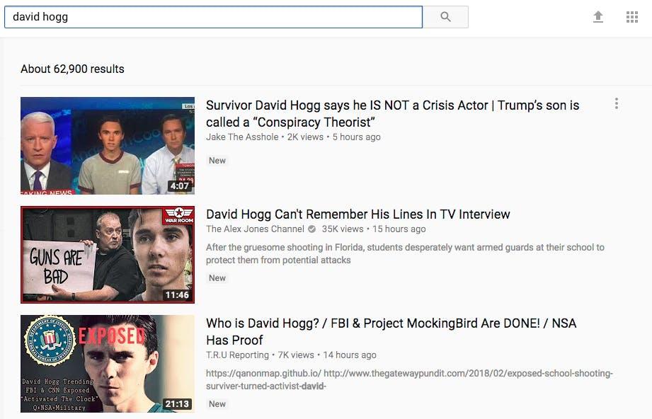 david hogg youtube conspiracy videos