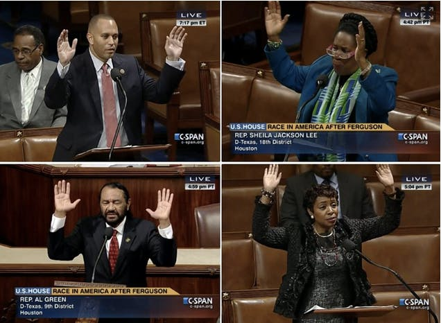 Congressional Black Caucus members show solidarity with Ferguson protesters