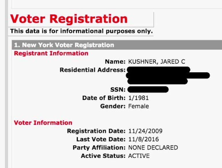 jared kushner voter registration