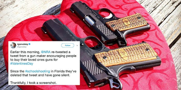 Following news of a school shooting in Florida, the NRA deleted a retweet of a post encouraging people to buy guns for Valentine's Day.