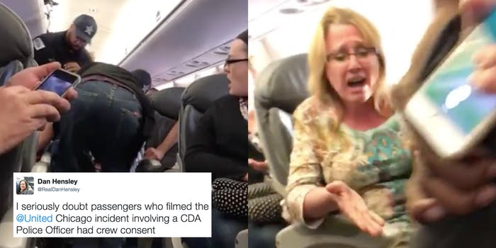 Video stills from the United Airlines viral video of officers dragging a man off a plane.