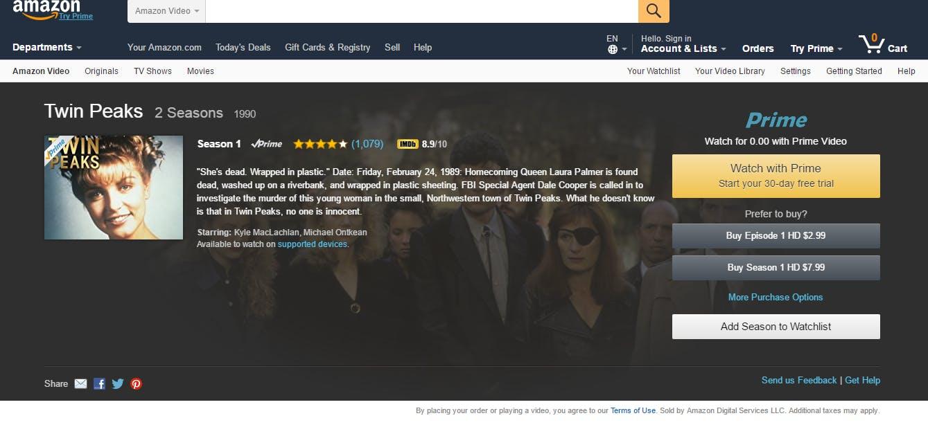 How to watch Twin Peaks on Amazon