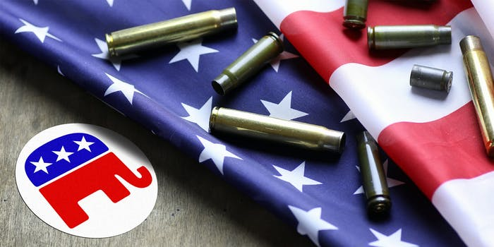 GOP logo sticker with American flag covered with shell casings