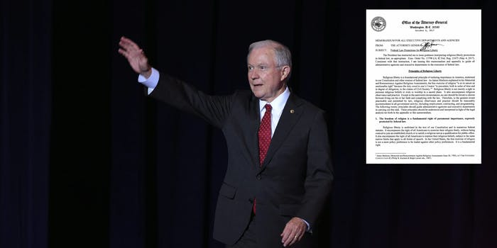 """Attorney General Jeff Sessions released a 25-page memo late last week that offers """"guidance"""" to federal agencies regarding religious liberty protections."""