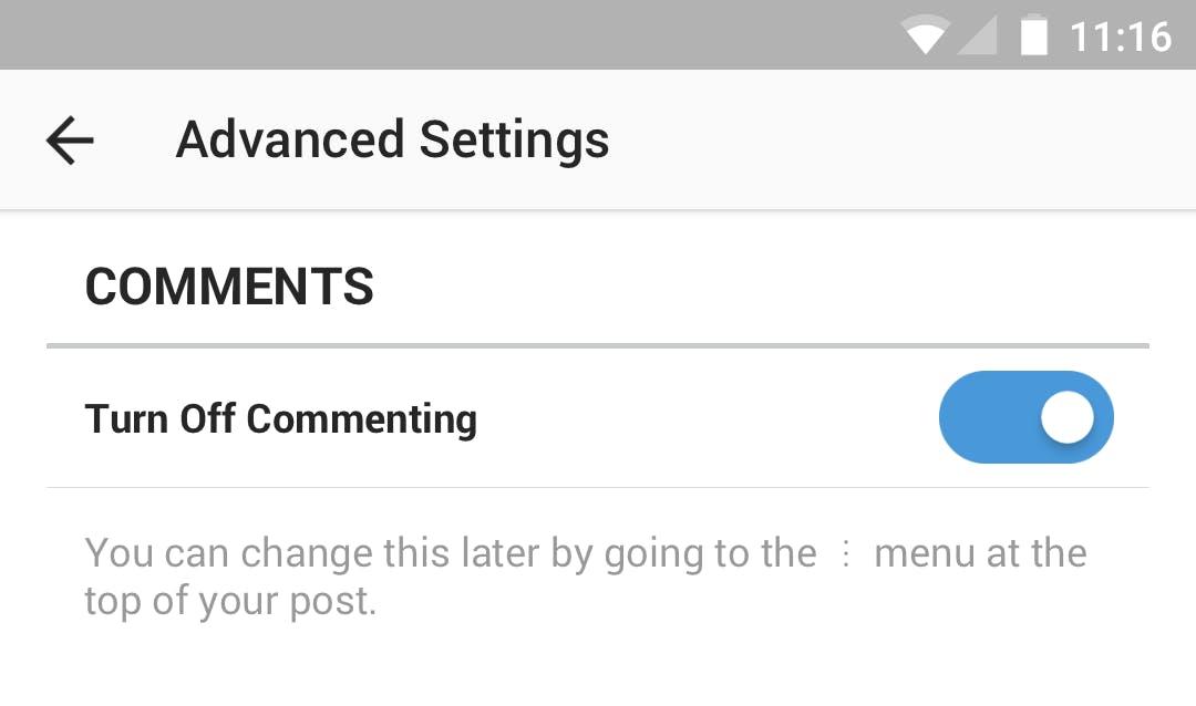 The advanced settings screen in Instagram.