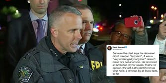 A press conference being held by police about the Austin Bomber and a tweet criticizing the police chief's words.