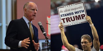 Gov. Jerry Brown and Trump supporter
