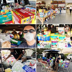 Photos of supplies bought by Kevin Kwan Loucks to help victims of the fires in California.