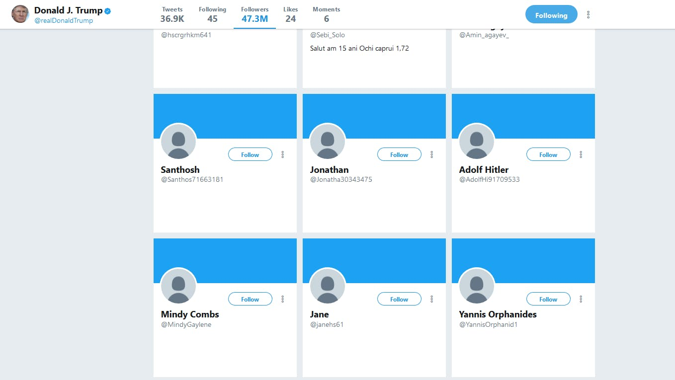 President Donald Trump has amassed an army of 'egg' accounts and 'artificial followers' on Twitter. But so has the rest of his family.