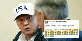 President Donald Trump with Texas Gov. Greg Abbott next to a tweet referencing Trump comments calling himself a 'stable genius.'