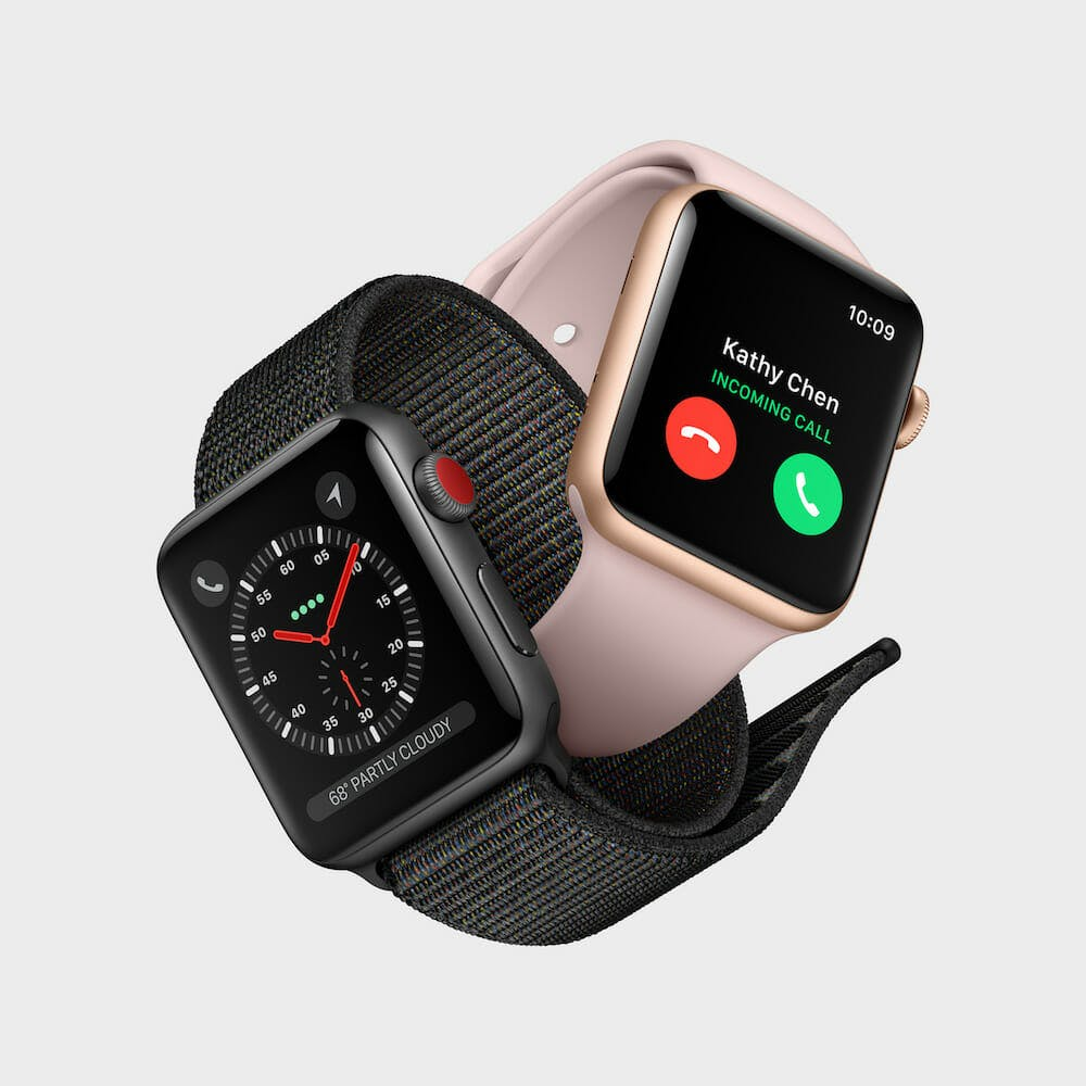 Two Apple Watch Series 3 intertwined