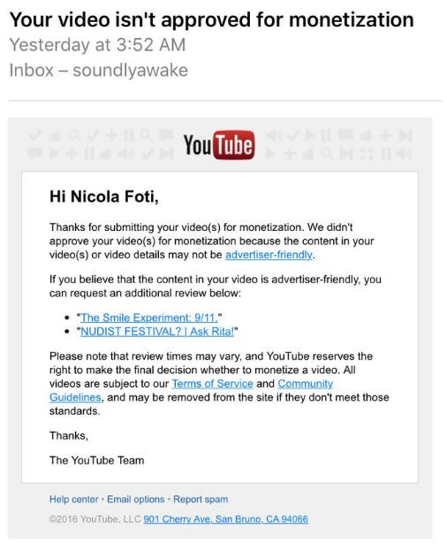 By placing this email in the present tense, YouTube makes it sound as if this just happened when, in fact, it happened years ago. This resulted in a huge amount of confusion.