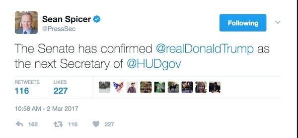 sean spicer memes: sean spicer deleted tweet naming donald trump as HUD secretary