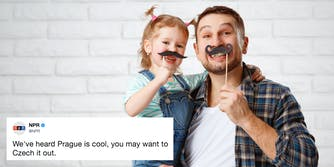 A dad and daughter with fake mustaches with an NPR tweet