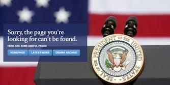 White House website error page