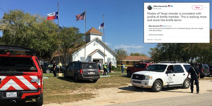 While there are still a number of unanswered questions about the shooting in Sutherland Springs, Tx. on Sunday that left 26 people dead–including eight members of one family–that hasn't stopped far-right personalities from speculating about the motivations of Devin P. Kelley, 26, who authorities say carried out the attack.