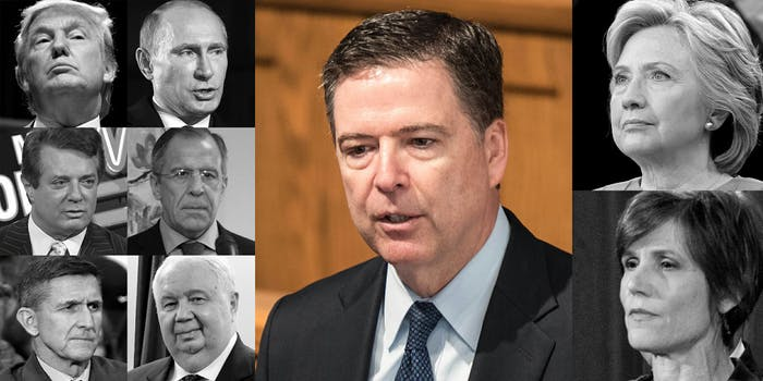 Comey, Trump, Putin, Manafort, Lavrov, Flynn, Kislyak, Clinton and Sally Yates