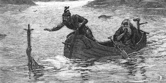 King Arthur receives Excalibur from the Lady of the Lake