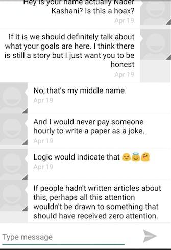 Text exchange between writer and Schermer/Kashani/Modgeddi