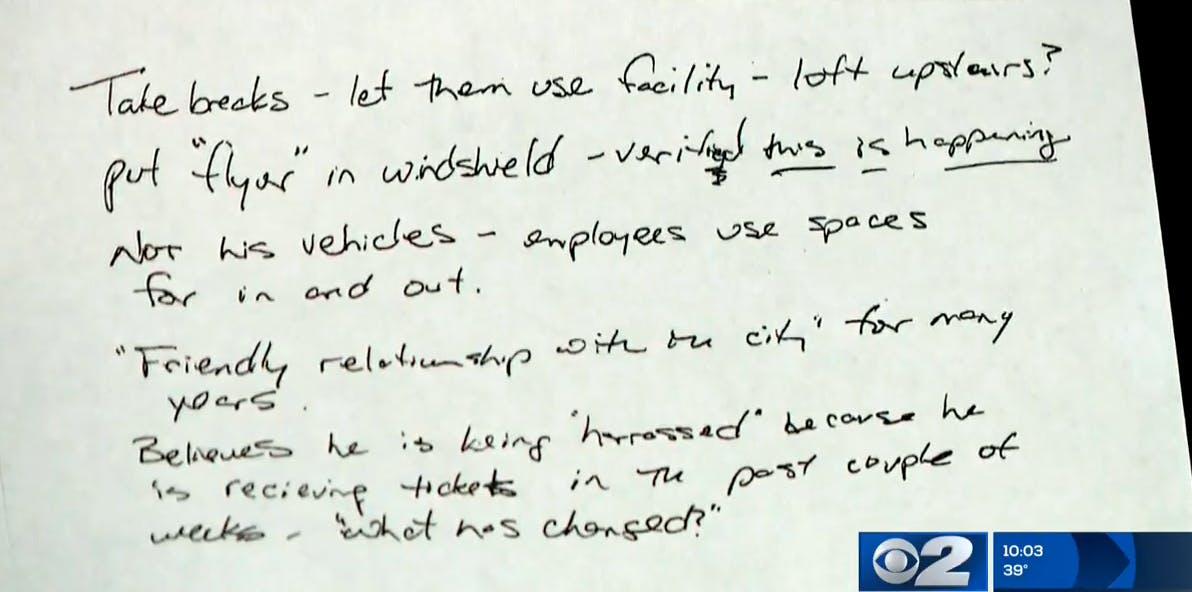 hand written note from pizza scheme