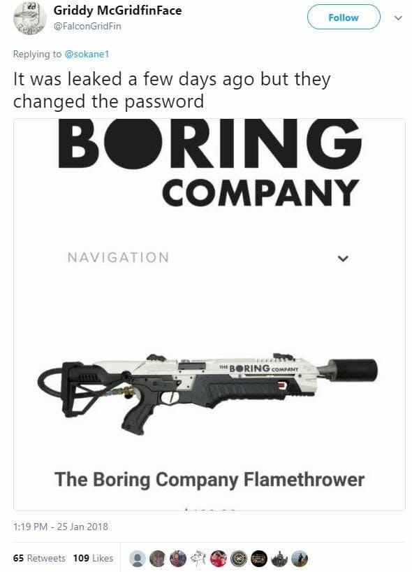 the boring company flamethrower leak tweet