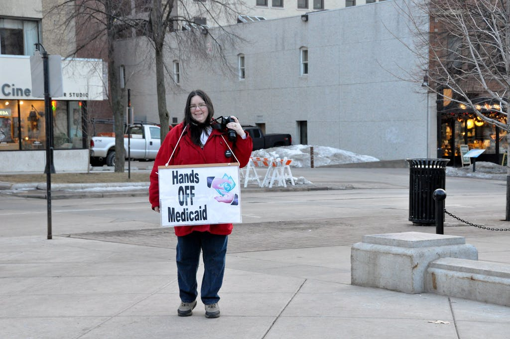 Medicaid protest woman