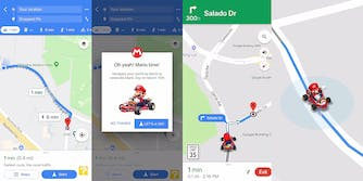 Mario in a go-kart on Google Maps