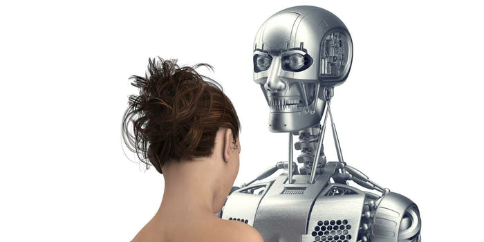 Robot with naked woman