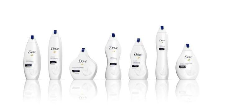 dove bottles in body shapes