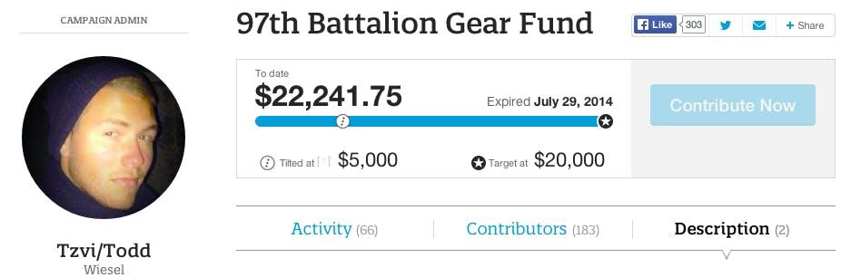 Israel soldier Tilt crowdfund campaign, IDF