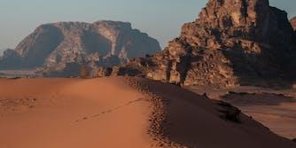Wadi Rum Desert, tracks on a sand dune
