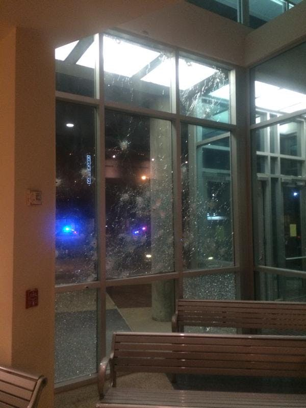 Bullet damage outside Dallas Police Department headquarters