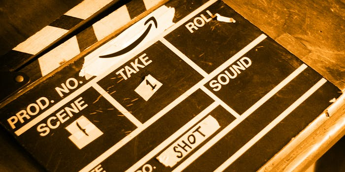 Clapperboard with Amazon smile logo