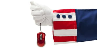 Uncle Sam holding mouse