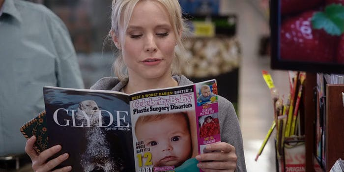 Eleanor from The Good Place reading Celebrity Baby