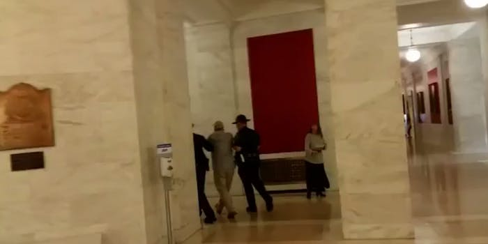 A screen grab of a video reportedly of Heyman's arrest.