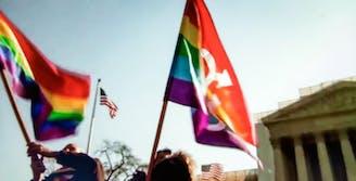 LGBTQ Protest Flags Waving in Washington DC
